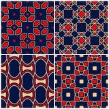 Fundos sem emenda Grupos clássicos bege e vermelhos azuis com testes padrões geométricos Foto de Stock Royalty Free