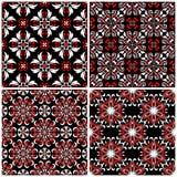 Fundos sem emenda Grupos clássicos brancos e vermelhos pretos com testes padrões florais Imagens de Stock