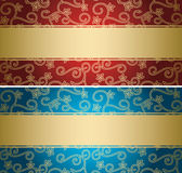 Fundos vermelhos e azuis com teste padrão dourado - cartões Imagens de Stock