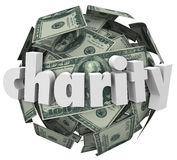 Fundraiser för välgörenhetpengarboll hundra dollarsfär Royaltyfri Foto