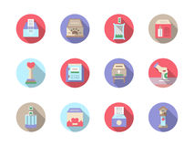 Fundraiser flat color icons set Stock Images