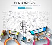 Fundraising концепция с стилем дизайна Doodle Стоковые Фотографии RF