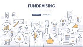 Fundraising концепция Doodle иллюстрация штока