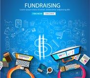 Fundraising begrepp med klotterdesignstil stock illustrationer