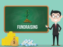 Fundraising business concept with business man standing with a lot of money for fund vector stock illustration