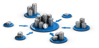Fundraising, Collaborative Finance. Stacks of generic coins over white background with blue arrows pointing the highest pile. Conceptual 3D illustration for Royalty Free Stock Photo