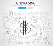 Fundraising concept with Doodle design style. Finding money, financial management, creative thinking. Modern style illustration for web banners, brochure and Royalty Free Stock Image