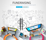 Fundraising concept with Doodle design style. Finding money, financial management, creative thinking. Modern style illustration for web banners, brochure and Royalty Free Stock Photos