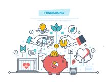 Fundraising concept. Fundraising event, volunteer center. Donation in heart form. Charitable foundations, help people and donation, helping the needy people stock illustration