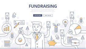 Fundraising klotterbegrepp stock illustrationer