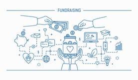 Fundraising. Line art flat contour vector illustration. Royalty Free Stock Image