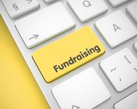 Fundraising - Text on Yellow Keyboard Keypad. 3D. royalty free stock photo