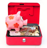 Funds. Shot of a piggy bank and cash box Royalty Free Stock Image