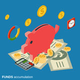 Funds accumulation, bank deposit vector concept Stock Photos