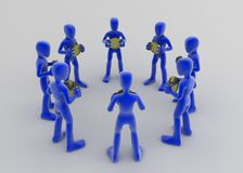 Funds, Circle. 8 blue 3d figures in a circle, each holding a coin and facing inwards Royalty Free Stock Images