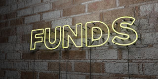 FUNDS - Glowing Neon Sign on stonework wall - 3D rendered royalty free stock illustration Royalty Free Stock Photo