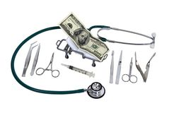 Funds for Medical Coverage. Shown by money as a patient on gurney surrounded by various hospital tools - path included Stock Images