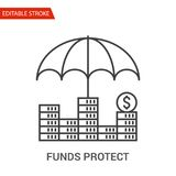 Funds Protect Icon. Thin Line Vector Illustration. Adjust stroke weight - Expand to any Size - Easy Change Colour - Editable Stroke - Pixel Perfect Royalty Free Stock Photography