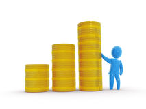 Funds rise. Rising golden coin stacks chart and satisfied investor or businessman Stock Photo