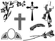 Funeral announcement elements stock illustration