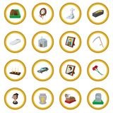 Funeral and burial cartoon icon circle. Cartoon isolated vector illustration Stock Photo