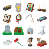 Funeral and burial cartoon icons Stock Image