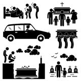 Funeral Burial Coffin Ceremony Pictogram. A set of pictograms representing funeral and burial ceremony Stock Photo