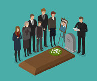 Funeral, burial concept. Cemetery, grave vector illustration Royalty Free Stock Images
