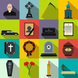 Funeral and burial flat icons. Set for web and mobile devices Royalty Free Stock Image
