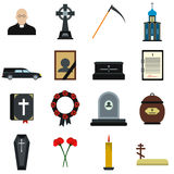 Funeral and burial flat icons. Set  on white background Stock Photos
