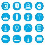 Funeral and burial icon blue. Funeral and burial simple icon blue isolated vector illustration Royalty Free Stock Photography