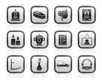 Funeral and burial icons. Vector icon set Stock Images