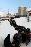 Funeral and burial of nine family members due to avalanche - Dragash Stock Images