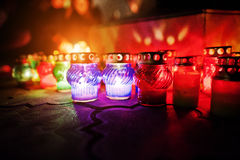 Funeral candle lamps at night Stock Photography