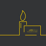 Funeral candle. With a sign for text on a dark background. Outline. minimal Royalty Free Stock Photography