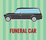 Funeral car (hearse) with a driver and a coffin (vector drawing) Stock Photos
