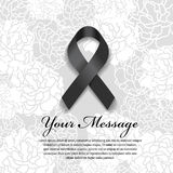 Funeral card - Black ribbon and place for text on soft flower abstract background Royalty Free Stock Images