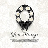 Funeral card - Circle Black ribbon wreath bow and white rose on soft flower abstract background Stock Image