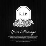 Funeral card - Grave Stone With The Word R.I.P. and rose on black wood background vector design Royalty Free Stock Photo