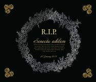 Funeral card template vector illustration