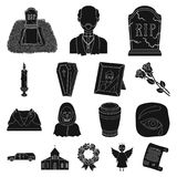 Funeral ceremony black icons in set collection for design. Funerals and Attributes vector symbol stock web illustration. Royalty Free Stock Photography