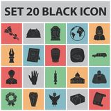 Funeral ceremony black icons in set collection for design. Funerals and Attributes vector symbol stock web illustration. Royalty Free Stock Images