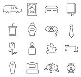 Funeral Ceremony or Burial Ceremony Icons Thin Line Vector Illustration Set Stock Images