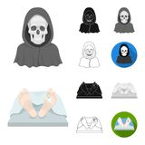 Funeral ceremony cartoon,black,flat,monochrome,outline icons in set collection for design. Funerals and Attributes. Vector symbol stock  illustration Royalty Free Stock Photo