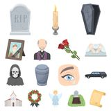 Funeral ceremony cartoon icons in set collection for design. Funerals and Attributes vector symbol stock web Stock Image