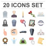 Funeral ceremony cartoon icons in set collection for design. Funerals and Attributes vector symbol stock web Stock Images