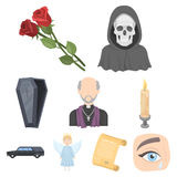 Funeral ceremony, cemetery, coffins, priest.Funeral ceremony icon in set collection on cartoon style vector symbol stock Royalty Free Stock Photography