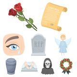 Funeral ceremony, cemetery, coffins, priest.Funeral ceremony icon in set collection on cartoon style vector symbol stock Stock Photos