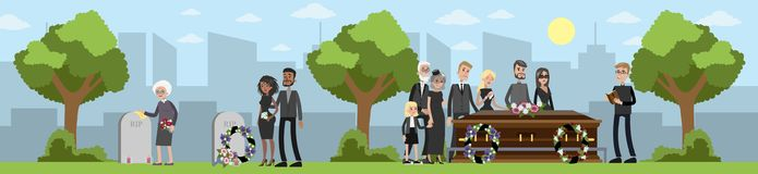 Funeral ceremony at the cemetery. Funeral ceremony on the cemetery. Sad people in black clothes standing with flowers and wreaths around coffin. Vector flat vector illustration