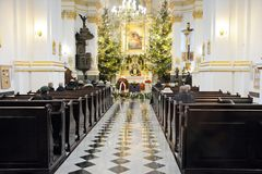 Funeral ceremony in church stock image